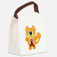 burg ribbon orange kitty cat.png Canvas Lunch Bag