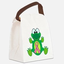 pink ribbon froggy.png Canvas Lunch Bag