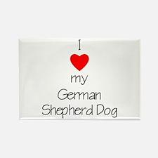 I Love My German Shepherd Dog Rectangle Magnet