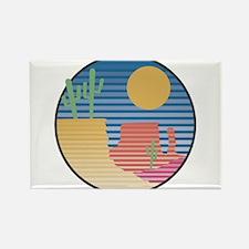 Cactus Desert Scene Rectangle Magnet