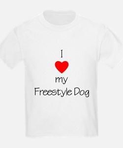 I Love My Freestyle Dog Kids T-Shirt