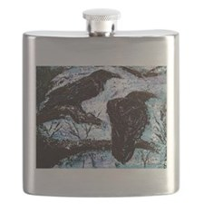 original ravens painting Winter is Coming Flask