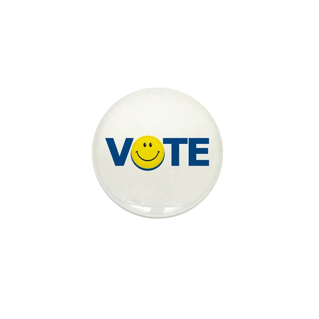 Vote Smiley Face Mini Button By Proudbrand