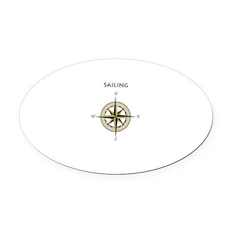Sailing Compass Rose Oval Car Magnet