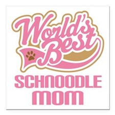 """Schnoodle Mom Square Car Magnet 3"""" x 3"""""""