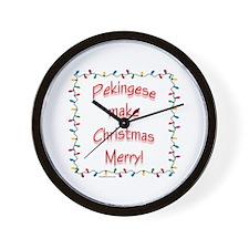 Merry Pekingese Wall Clock