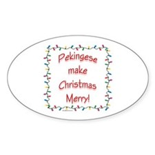 Merry Pekingese Oval Decal