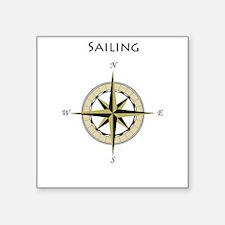 """Sailing Compass Rose Square Sticker 3"""" x 3"""""""