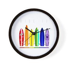 Rainbow Surf Wall Clock