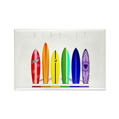 Rainbow Surf Rectangle Magnet