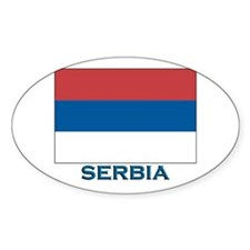 Serbia Flag Gear Oval Decal