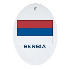 Serbia Flag Gear Oval Ornament