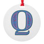 Q Blue Glass Round Ornament