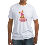 bunny with plaid egg.png Fitted T-Shirt