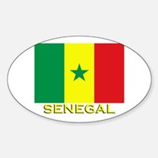 Senegal Flag Gear Oval Decal