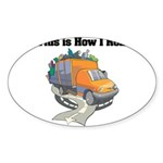 3-garbage truck.png Sticker (Oval 50 pk)