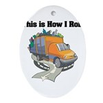 3-garbage truck.png Ornament (Oval)