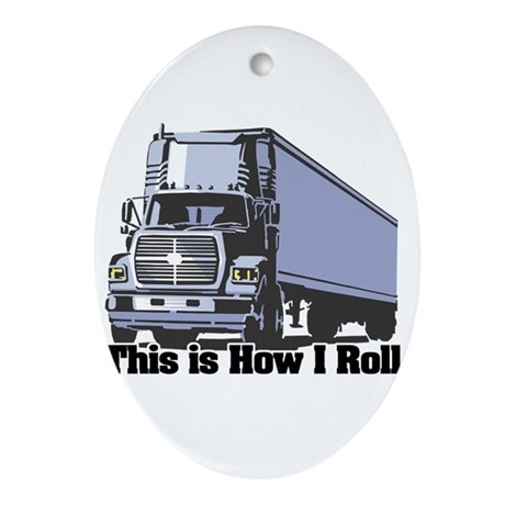 tractor trailer.png Ornament (Oval)
