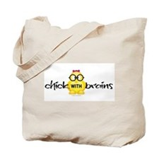 Cute Chick with brains Tote Bag