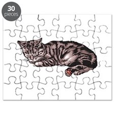 sleeping grey and back tabby cat.png Puzzle