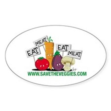 Save The Veggies! Oval Decal