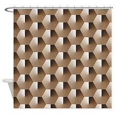 Hexagons - Brown Shower Curtain