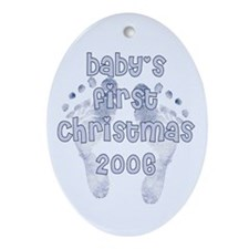 Baby's first Christmas BLUE 2006 Oval Ornament