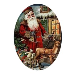 Vintage Santa with Reindeer Oval Ornament