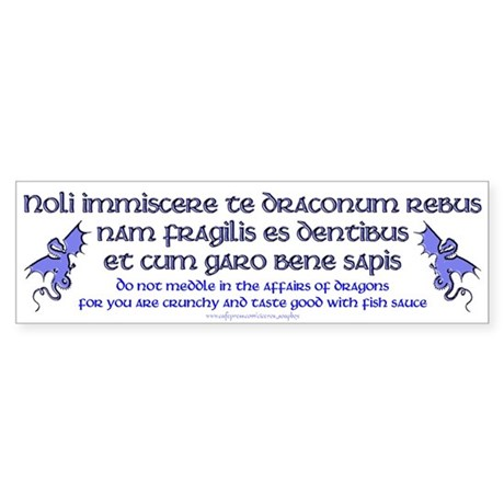 Affairs of Dragons (Latin) Bumper Sticker