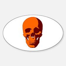 Orange Skull Oval Decal