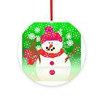 Winter Snowman Ornament (Round)