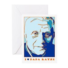 Papa Ratzi New Pope Benedict Blue Greeting Cards (