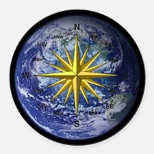 Earth Compass Round Car Magnet