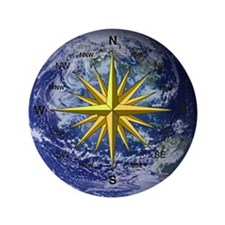 """Earth Compass 3.5"""" Button (100 pack)"""