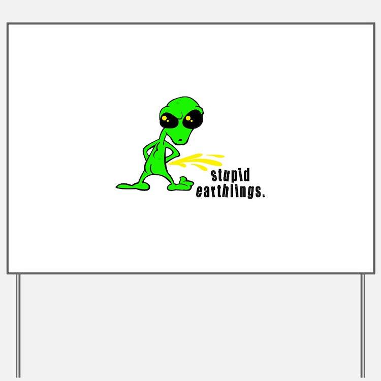 alien peeing copy.jpg Yard Sign