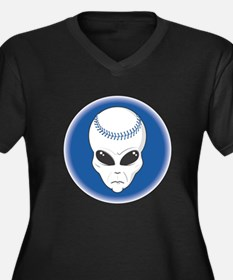 baseball alien head copy.png Women's Plus Size V-N