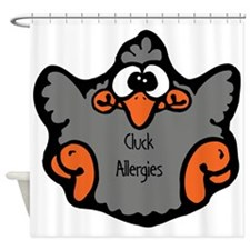 cluck-allergies.png Shower Curtain