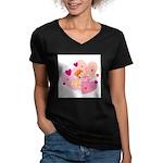 cute little cupid.jpg Women's V-Neck Dark T-Shirt