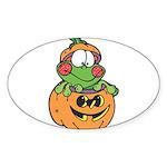 frog in pumpkin copy.png Sticker (Oval 10 pk)