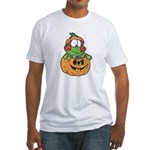 frog in pumpkin copy.png Fitted T-Shirt