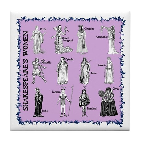 Shakespeare's Women Square Tile Coaster