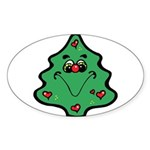 cute happy christmas tree.png Sticker (Oval 10 pk)