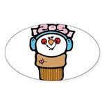 cute little girl snow cone.png Sticker (Oval 50 pk