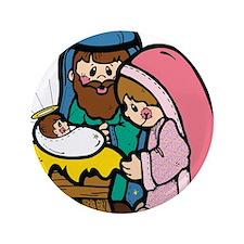"""cute nativity scene.png 3.5"""" Button"""
