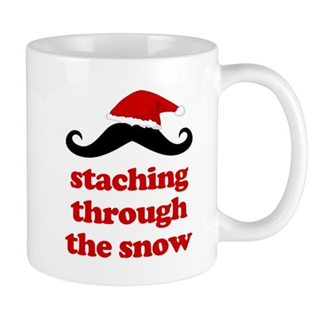 staching through the snow funny mustache christmas
