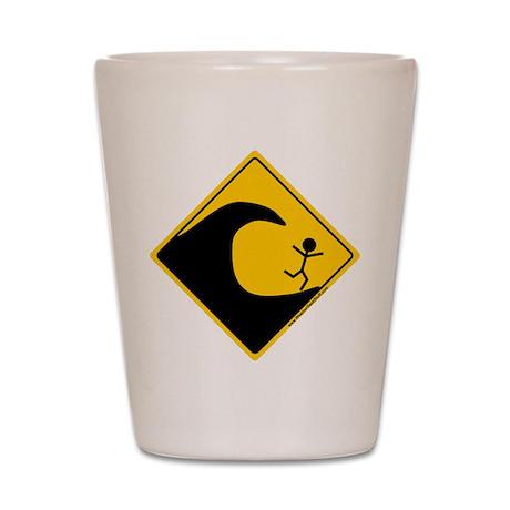 Tsunami Warning Shot Glass