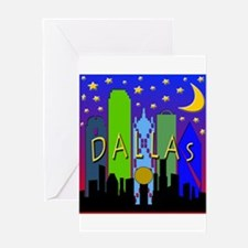 Dallas Skyline nightlife Greeting Card