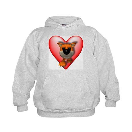 Heart & 3D Tiger Kids Hoodie
