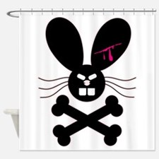 Evil Emo Bunny Crossbones.png Shower Curtain