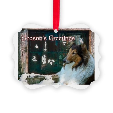 Rough Collie Christmas Picture Ornament